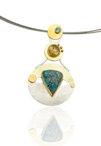 NKL–104: Turquoise, Ritillated Quartz, Green Tourmaline. 24K gold, sterling silver, 20 inch multi strand stainless steel cable, box clasp. $1140.00.