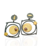ER–162: Pink Tourmaline, 24k gold on silver, 18k, 14k gold, oxidized sterling silver, 1.75 l x 1.25 w