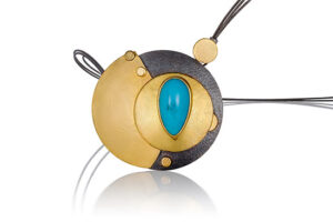 NKL–109: Sleeping Beauty Turquoise, 24k gold on silver,20 inch stainless steel cable with box clasp. pendant 2.0 x 2.0.