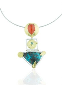 NKL–103: Turquoise, Indonesian Orange Chalcedony,Green Tourmaline, 24k gold, sterling silver, 19 inch stainless steel cable, box clasp.$ 1450.00